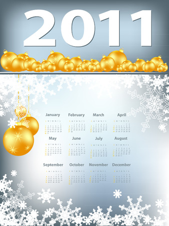 elegant 2011 calendar with snowflakes and decoration.  Stock Vector - 8126887