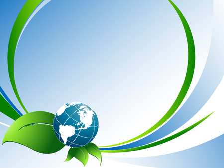 vector environmental background with globe and copy space.