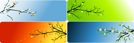 abstract vector four seasons banners with apple brunch Vector