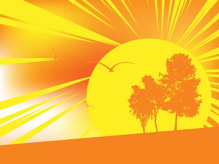 horizont: abstract vector illustration with sun and birds Illustration