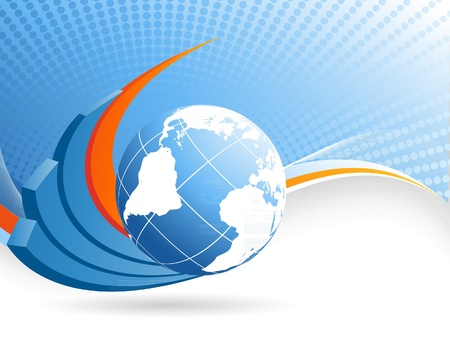 financial globe: abstract vector background with creative bar graphs and globe Illustration