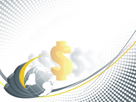 abstract vector background with creative bar graphs, globe and dollars. Eps10