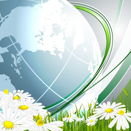 vector environmental background with globe and copy space. Eps10 Vector