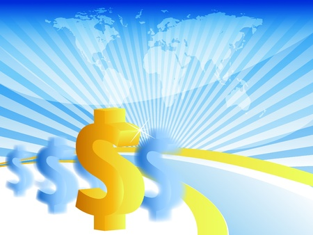 bright vector background with dollars. Eps10 version Vector