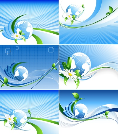 vector environmental backgrounds  with globe and copy space. Set. Eps10