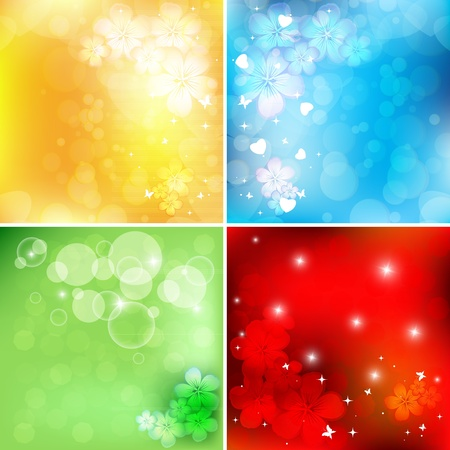 abstract bright floral vector set with copy space. Eps10  イラスト・ベクター素材