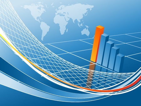 financial success: abstract vector background with bar graphs and lines.
