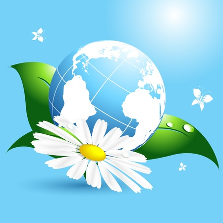conceptual image: environmental vector concept with globe and flower