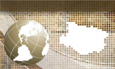 abstract modern mosaic frame with globe Vector