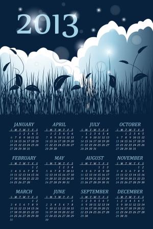faity floral calendar for 2013 year Stock Vector - 14414093