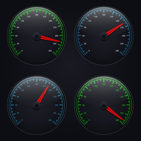 speedometers set over dark background Vector