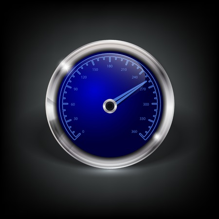 web button with speedometer and metallic border Vector