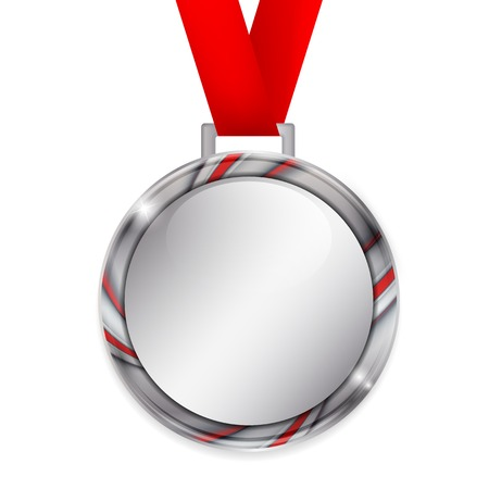 silver medal: Vector silver medal with red ribbon and colorful border. Eps10