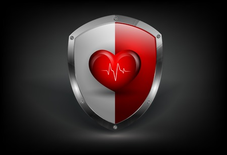 modern vector colorful shield with heart and pulse. Eps10 Vector