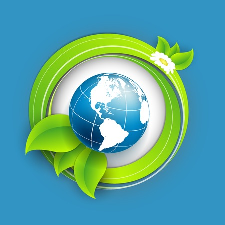 floral environmental vector frame with globe. Eps10 Vector
