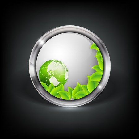 Vector web button with metallic border, globe and leaves.  Vector
