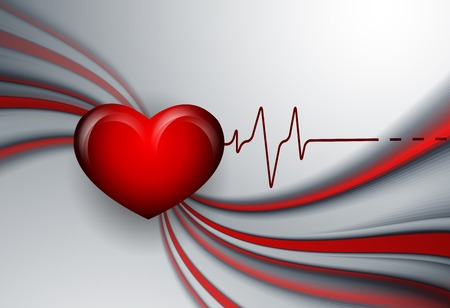 vector background with pulse and heart. Eps10 Vector