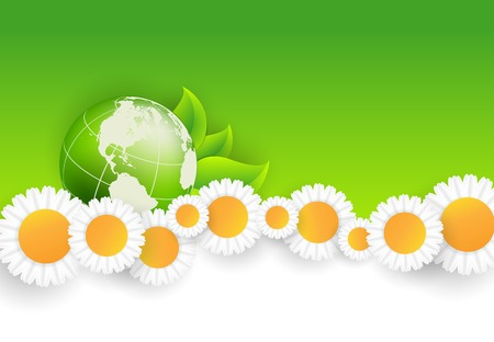 floral environmental frame with globe Vector