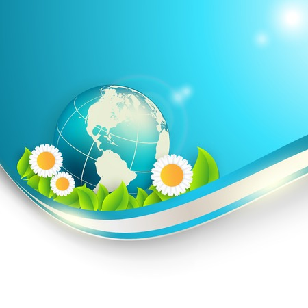 floral environmental frame with globe. Vector