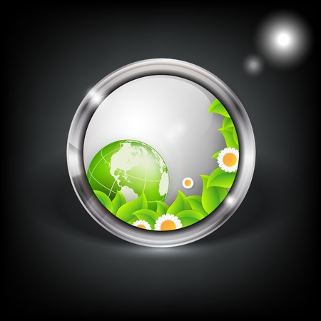 floral environmental vector frame with globe.  Vector
