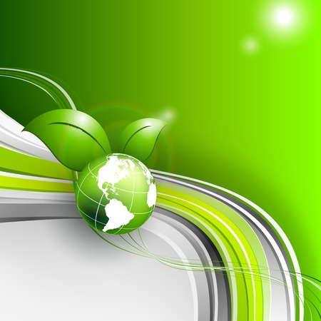 planeta verde: abstract environmental vector background  with globe.