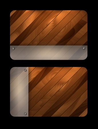 abstract wooden textured vector templates with mat glass. Eps10 Vector