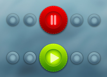web player colorful vector buttons set. Eps10 Vector