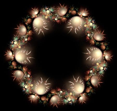 creative beauty: Flowers fantasy frame. Computer generated fractal artwork for design