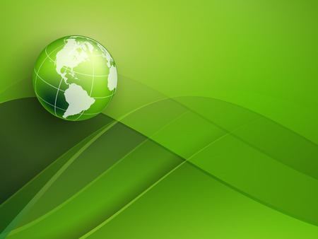 creative beauty: green vector background with globe and copy space.  Illustration