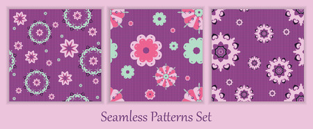 fashion background: colorful vector seamless patterns set. Elements for your design.