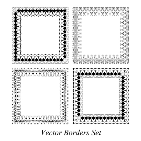 dashes: Decorative abstract frames and borders set vector.