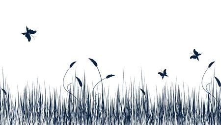 bunner: abstract floral summer vector bunner with butterflies
