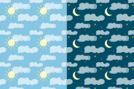 Vettore colorato seamless pattern. Elementi del cielo di notte e di notte. Elementi per il tuo design. eps10