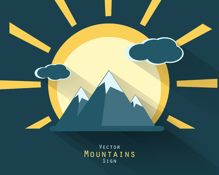 deign: Mountain vector tourist flat icon with long shadows. Vector sighs, elements for your design. Sun, clouds, mountains vector elements.