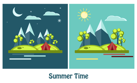 deign: Outdoor recreation concept with flat camping travel icons vector illustration. Vector signs, elements for your design. Sun, clouds, mountains vector elements. Day and nigh flat vector design.