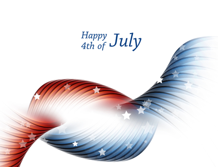 fourth of july: Happy 4th of July.  Independence Day Vector Design . July Fourth. Wavy Vector Colorful Design.