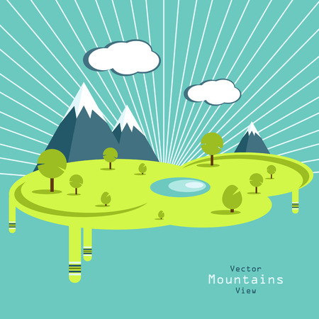 deign: Vector summer design. Vector signs, elements for your design. Sun, clouds, mountains vector elements. Day and nigh flat vector design.