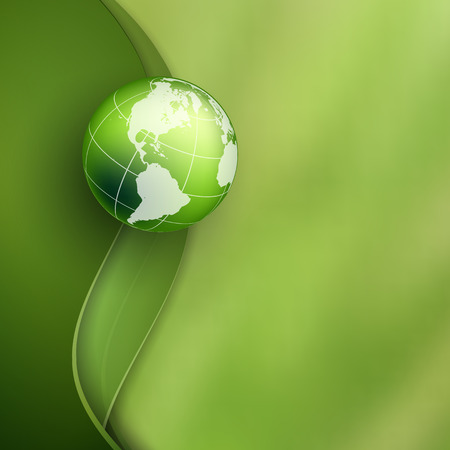 wavy background: vector background with bright green wavy lines and globe.