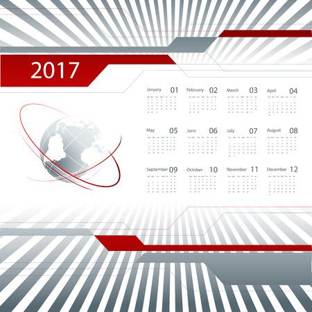 monthly planner: 2017 vector business calendar design with globe. Illustration