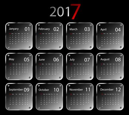 calendar design: 2017 vector calendar design. Metallic frames.