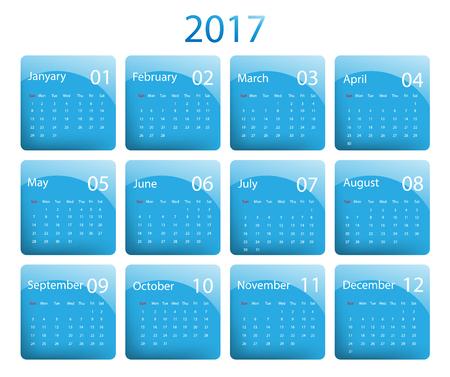 calendar design: 2017 vector calendar colorful design.