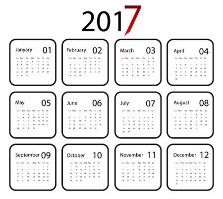 calendar design: 2017 vector calendar design. Flat style.