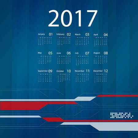 calendar design: 2017 vector business calendar design.