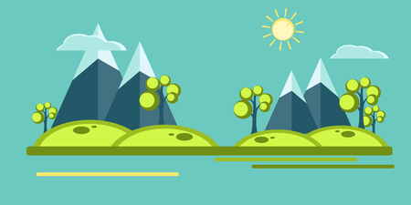 deign: Mountain view in  flat style. Sun, clouds, mountains, trees over blue sky.