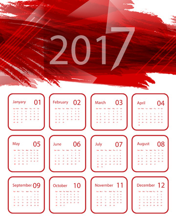 monthly planner: 2017 vector calendar design. Red paint with polygones.
