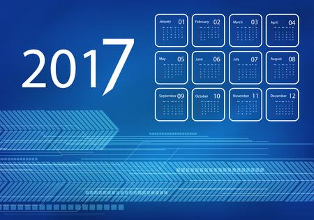calendar design: 2017 vector calendar blue techno design.