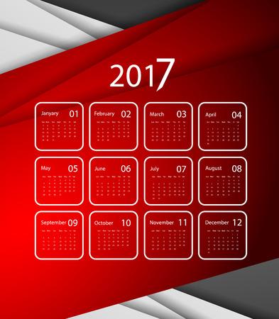 calendar design: 2017 vector calendar design. Colorful corporate background.