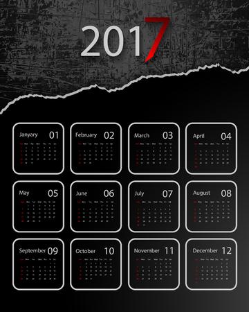 calendar design: 2017 vector calendar grungy design. Illustration