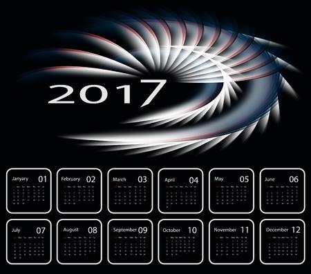 calendar design: 2017 vector dark modern calendar design.