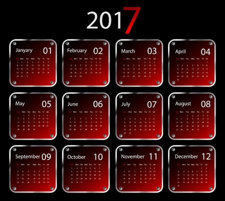monthly planner: 2017 vector calendar design. Illustration